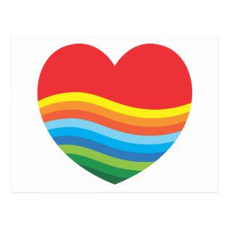 Corazón popular del regalo del arco iris actual tarjetas postales