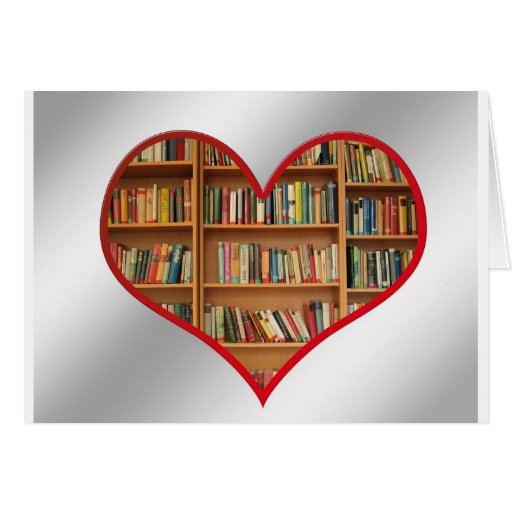 Corazón por completo de libros felicitacion