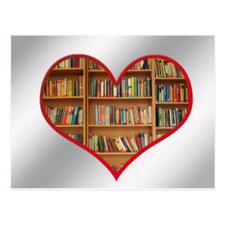 Corazón por completo de libros postales