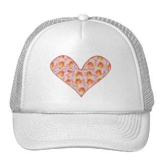 Corazón por completo de los gorras rosados del