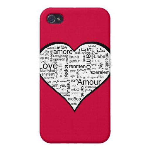 Corazón por completo del amor en otros idiomas iPhone 4 funda