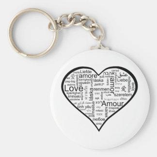 Corazón por completo del amor en otros idiomas llavero personalizado