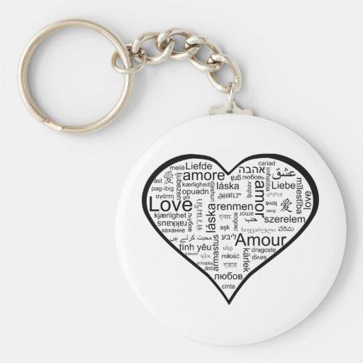 Corazón por completo del amor en otros idiomas llavero redondo tipo pin