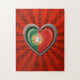 Corazón portugués envejecido de la bandera con los rompecabeza
