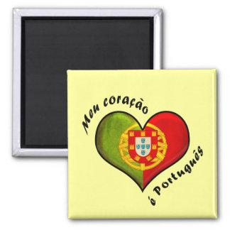 Corazón portugués imán cuadrado