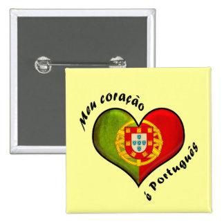 Corazón portugués pin cuadrada 5 cm