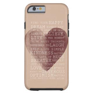 Corazón positivo de la acuarela de los funda para iPhone 6 tough