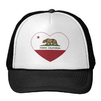 corazón poway de la bandera de California Gorros