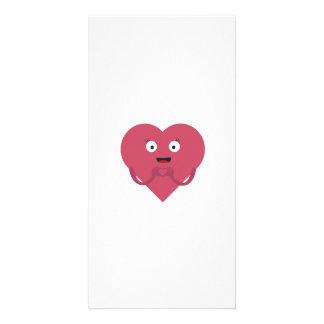 corazón precioso con la cara tarjeta con foto personalizada