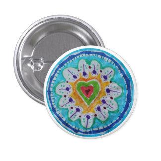 Corazón precioso del hippie del teñido anudado pin redondo de 1 pulgada