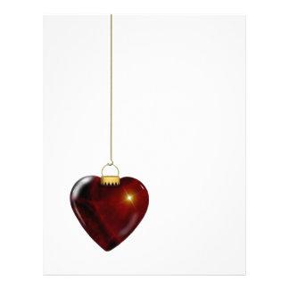 Corazón precioso del rojo del ornamento del día de membrete