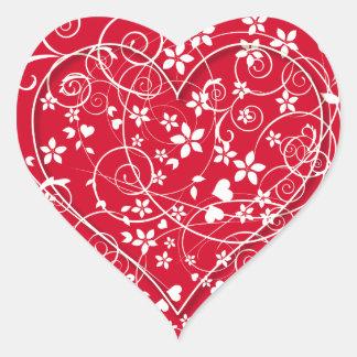Corazón precioso en rojo pegatina en forma de corazón