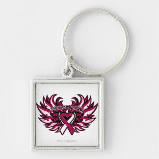 Corazón principal Wings.png de la conciencia del c Llavero Cuadrado Plateado