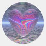 Corazón psicodélico de la tarjeta del día de San Pegatinas Redondas