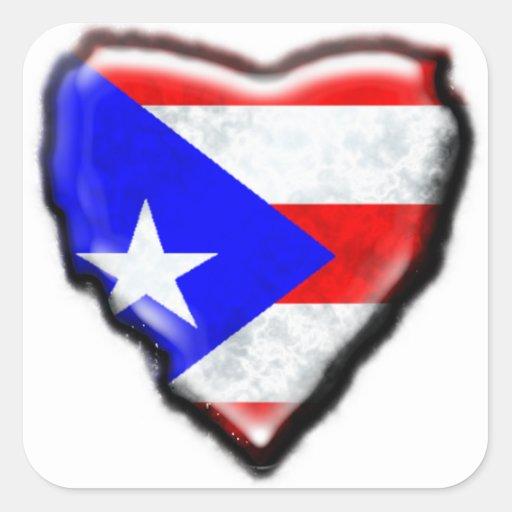 Corazón puertorriqueño de la bandera calcomania cuadradas personalizada