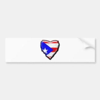 Corazón puertorriqueño de la bandera pegatina para auto