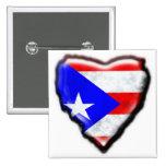 Corazón puertorriqueño de la bandera pin