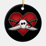 Corazón punky gótico lindo en tarjeta del día de S Adorno De Navidad