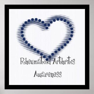 Corazón punteado azul - conciencia de la artritis  póster