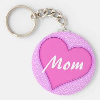 Corazón punteado rosa de la mamá llaveros personalizados