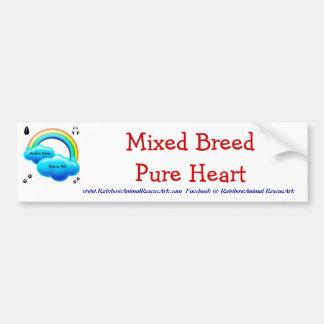 Corazón puro de la raza mezclada etiqueta de parachoque