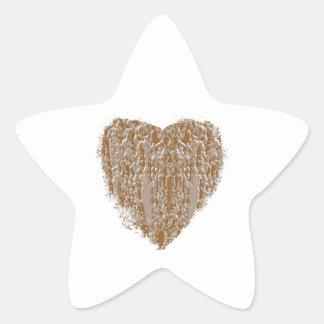 Corazón PURO - la plata del oro n grabó diseño Pegatina En Forma De Estrella