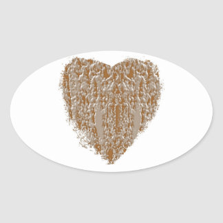 Corazón PURO - la plata del oro n grabó diseño Pegatina Ovalada