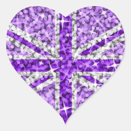 Corazón púrpura BRITÁNICO del pegatina de la mirad