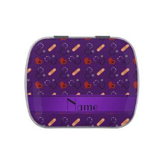 Corazón púrpura conocido personalizado del vendaje jarrones de dulces