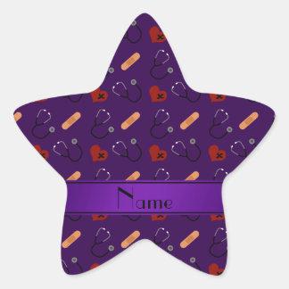 Corazón púrpura conocido personalizado del vendaje pegatina en forma de estrella