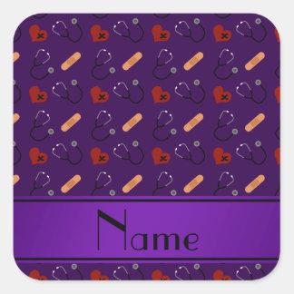 Corazón púrpura conocido personalizado del vendaje pegatina cuadrada