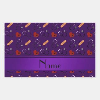 Corazón púrpura conocido personalizado del vendaje pegatina rectangular