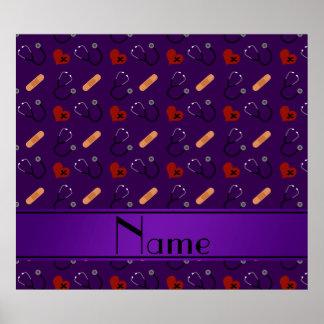 Corazón púrpura conocido personalizado del vendaje póster