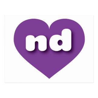 Corazón púrpura de Dakota del Norte - mini amor Postales