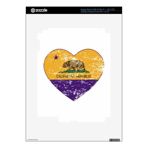 corazón púrpura de la república de la bandera de C iPad 3 Pegatinas Skins