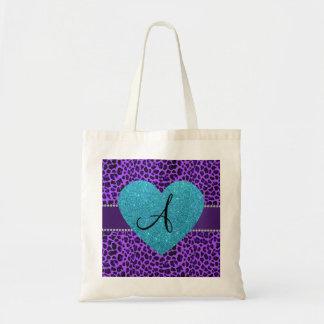 Corazón púrpura de la turquesa del leopardo del bolsa tela barata