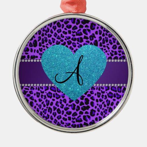 Corazón púrpura de la turquesa del leopardo del adorno redondo plateado
