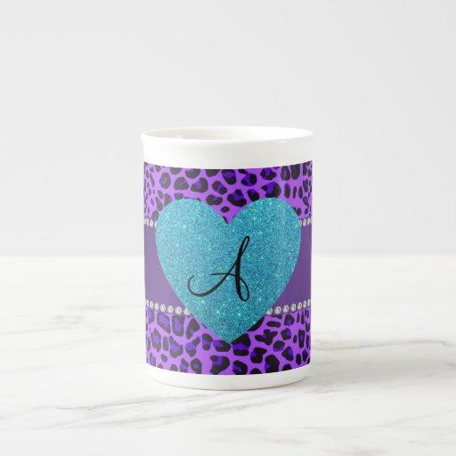 Corazón púrpura de la turquesa del leopardo del mo taza de porcelana