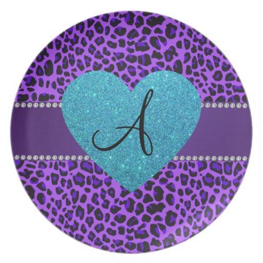 Corazón púrpura de la turquesa del leopardo del platos