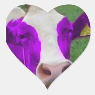 corazón púrpura de la vaca pegatina en forma de corazón