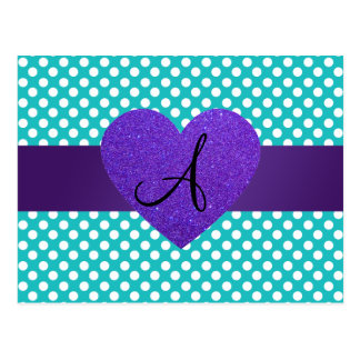 Corazón púrpura de los lunares de la turquesa del postal