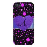 Corazón púrpura de los lunares púrpuras negros iPhone 5 funda