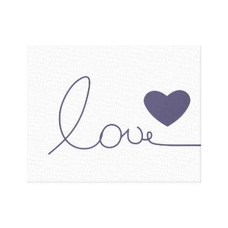 Corazón púrpura del amor impresiones en lona