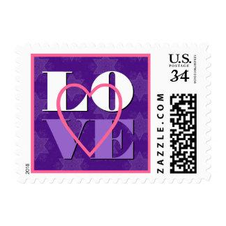 Corazón púrpura del AMOR que casa V05 Timbres Postales