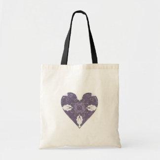 Corazón púrpura del arte del fractal de la mirada  bolsa tela barata
