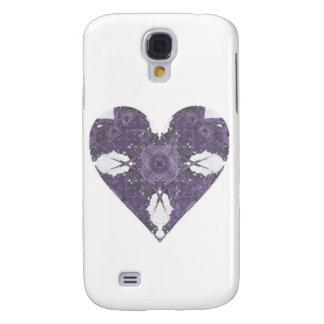 Corazón púrpura del arte del fractal de la mirada  funda para galaxy s4
