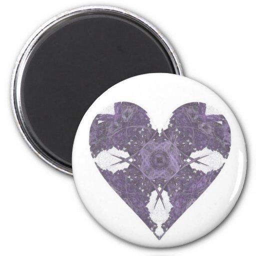 Corazón púrpura del arte del fractal de la mirada  imán redondo 5 cm