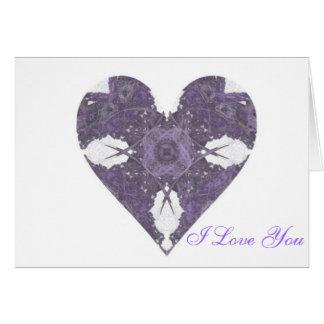 Corazón púrpura del arte del fractal de la mirada  tarjeta de felicitación