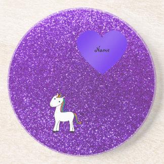 Corazón púrpura del brillo del unicornio lindo con posavasos manualidades