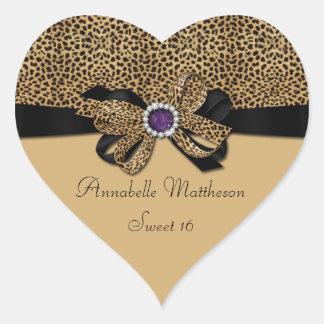 Corazón púrpura del dulce 16 de los diamantes de pegatina en forma de corazón